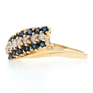 Sapphire & Diamond Cluster Bypass Ring - 14k Yellow Gold Round Brilliant .97ctw