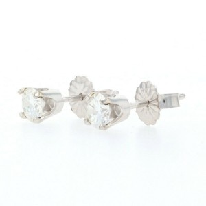 White Gold Diamond Stud Earrings - 14k Round Brilliant Cut .60ctw Pierced