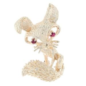 Yellow Gold Ruby Vintage Fox Brooch - 14k Round Cut .18ctw Woodland Animal Pin
