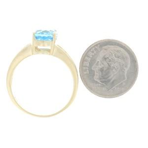 Yellow Gold Blue Topaz & Diamond Ring - 14k Oval Cut 3.68