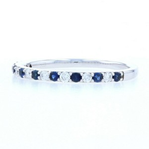 White Gold Sapphire & Diamond Wedding Band - 14k Round .56ctw Stackable Ring