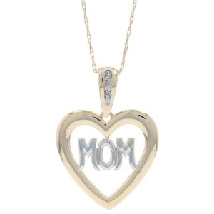 "Yellow Gold Diamond Mom Heart Pendant Necklace 18 1/2"" - 10k Single Cut Accents"
