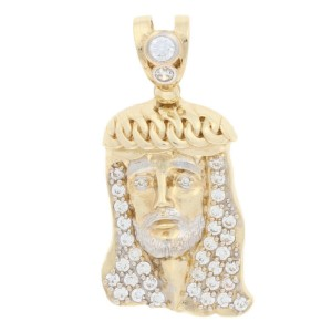 Yellow Gold Cubic Zirconia Pendant - 10k Round Cut .50ctw CZ Jesus Faith Bling