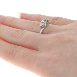 White Gold Emerald & Diamond Bypass Ring - 14k Oval Cut .39ctw