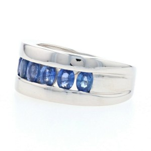 White Gold Sapphire Band Ring - 14k Oval Cut 2.10ctw Channel Set