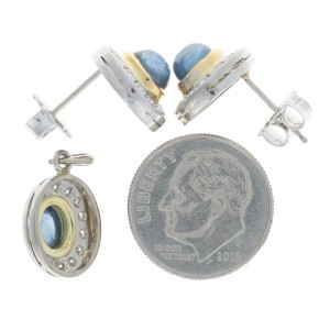 White Gold Sapphire & Diamond Halo Earrings & Pendant Set - 18k Cabochon 2.37ctw