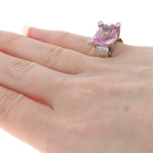 White Gold Pink Mystic Topaz & Diamond Ring - 14k Oval 8.96ctw Size 5 - 5 1/4