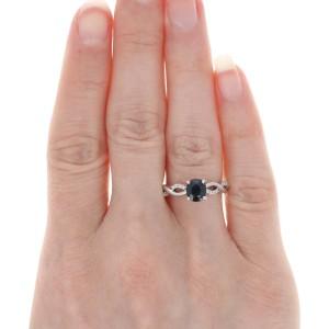 White Gold Sapphire & Diamond Engagement Ring - 14k Oval Cut 1.19ctw Twist