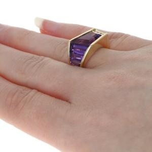 Yellow Gold Amethyst & Diamond Ring - 18k Contemporary 7.26ctw Size 6 3/4