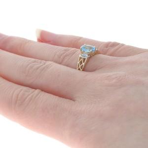 Yellow Gold Blue Topaz & Diamond Ring - 10k Oval Cut 1.17ctw Latticework