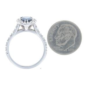 White Gold Sapphire & Diamond Halo Engagement Ring - 14k Pear Cut 1.54ctw