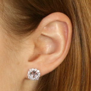 White Gold Semi-Mount Halo Earrings - 14k for 6mm w/ Diamond Accents .63ctw