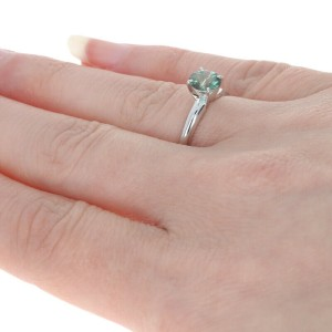 White Gold Synthetic Green Labradorite Ring 14k Round .35ct Engagement Solitaire
