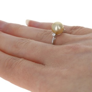 White Gold Golden South Seas Pearl & Diamond Ring -18k Solitaire w/Accents 8.5mm