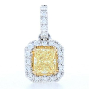 White Gold Fancy Yellow Diamond Halo Pendant - 18k Radiant Cut .66ctw GIA