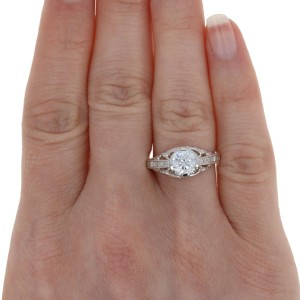 White Gold Semi-Mount Engagement Ring - 14k w/ Diamond Accents Fits 6.5mm Center