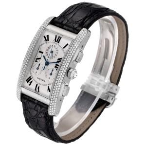 Cartier Tank Americaine Chronograph White Gold Diamond Mens Watch 2339
