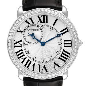 Cartier Ronde Louis 18K White Gold Diamond Bezel Mens Watch