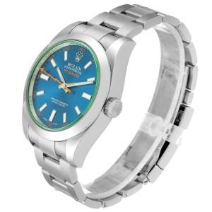 Rolex Milgauss Blue Dial Green Crystal Steel Mens Watch 116400
