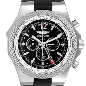 Breitling Bentley GMT Black Dial Steel Mens Watch A47362 Box
