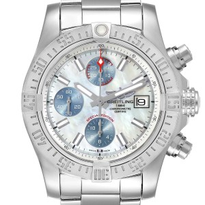 Breitling Super Avenger Mother of Pearl Special Edition Mens Watch A13381 Unworn