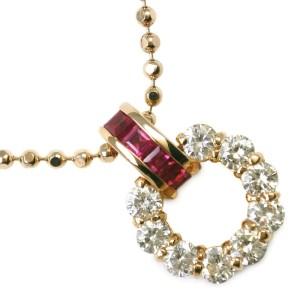 18k yellow gold/Ruby/diamond Necklace