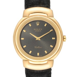 Rolex Cellini 18k Yellow Gold Grey Dial Black Strap Mens Watch 6622