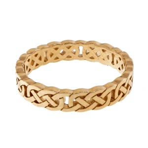 Peter Suchy Celtic Cut Repeating Pattern 14K Yellow Gold Wedding Band Ring Size 6.5