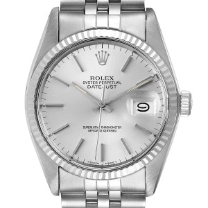 Rolex Datejust Steel White Gold Silver Dial Vintage Mens Watch