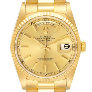 Rolex President Day Date Yellow Gold Diamond Mens Watch