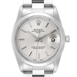 Rolex Date Stainless Steel Silver Dial Mens Watch