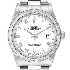 Rolex Turnograph Datejust White Gold Steel Mens Watch 16264 Box Papers