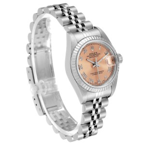 Rolex Datejust 26 Steel White Gold Salmon Dial Ladies Watch 69174 Papers