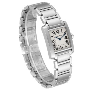 Cartier Tank Francaise Midsize Silver Dial Steel Ladies Watch WSTA0005