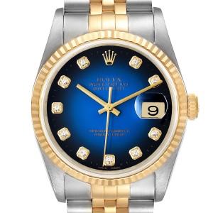 Rolex Datejust Steel Yellow Gold Vignette Diamond Dial Mens Watch