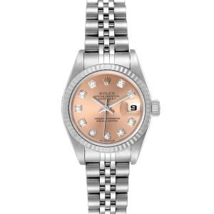 Rolex Datejust Steel White Gold Salmon Diamond Dial Ladies Watch 79174