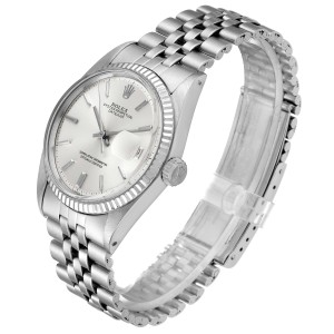 Rolex Datejust Steel White Gold Silver Dial Vintage Mens Watch 1601 Papers