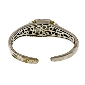 Asch Grossbardt 925 Sterling Silver & 18K Yellow Gold with Mother Of Pearl & Onyx Bangle Bracelet