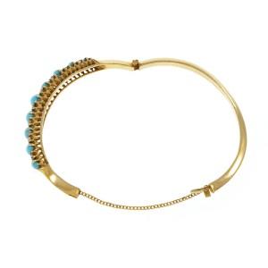 14K Yellow Gold with Turquoise & Diamond Victorian Bangle Bracelet