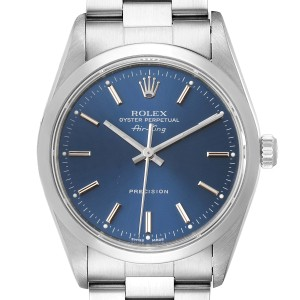 Rolex Air King 34 Blue Dial Domed Bezel Steel Mens Watch 14000