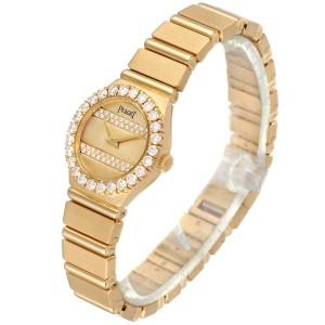 Piaget Polo 18K Yellow Gold Diamond Dial Quartz Ladies Watch