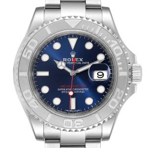 Rolex Yachtmaster 40mm Steel Platinum Blue Dial Mens Watch