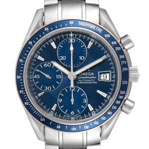 Omega Speedmaster Date Blue Dial Chronograph Mens Watch