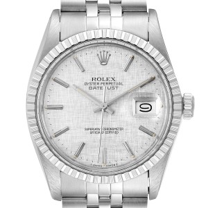 Rolex Datejust Silver Linen Dial Vintage Steel Mens Watch