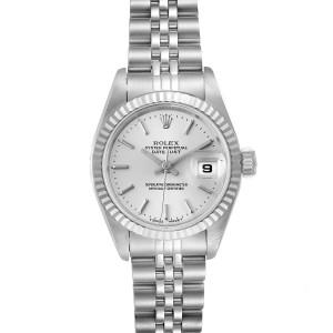 Rolex Date Steel White Gold Jubilee Bracelet Ladies Watch 69174 Papers