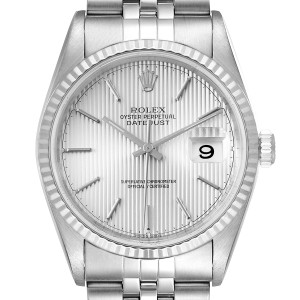 Rolex Datejust 36 Steel White Gold Tapestry Dial Mens Watch