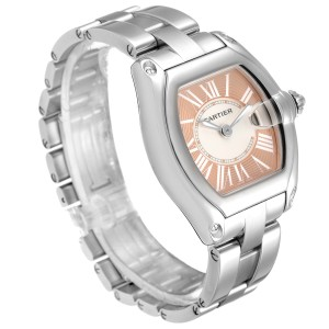 Cartier Roadster Coral Dial Limited Edition Steel Ladies Watch W62054V3