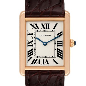 Cartier Tank Solo Rose Gold Steel Brown Strap Large Watch W5200025