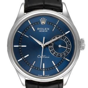 Rolex Cellini Date 18K White Gold Blue Dial Mens Watch 50519 Box Card