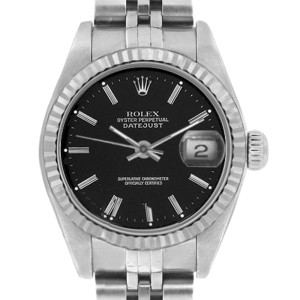 Rolex Datejust 6916 Stainless Steel Black Stick Dial 18K Gold Fluted Bezel Womens Watch